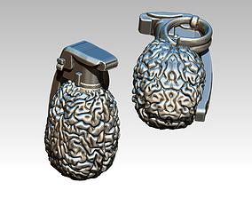 human Brain grenade highpoly modern 3D printable model