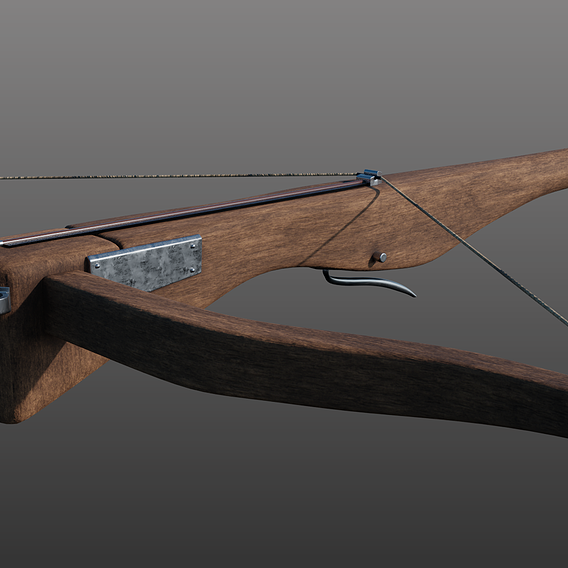 Low Poly PBR Crossbow asset