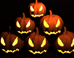 3D asset Halloween jack o lantern pumpkins