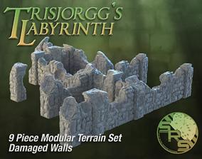Damaged Stone Walls Modular Terrain Set 3D printable model