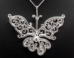 Silver Filigree Butterfly Pendant 3D printable model