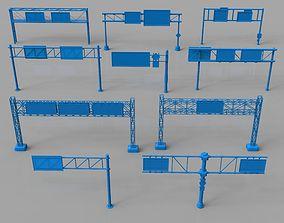 3D model hanging Road Billboards - 10 pieces