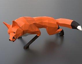 lowpoly red fox 3D asset