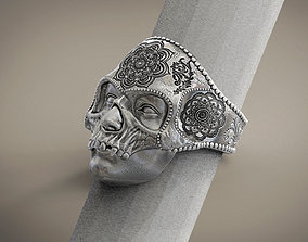 Ring Skull Mandala Mehndi Buddism India Openwork STL for