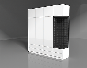3D White Wood Wardrobe with leather sit by ARTrzcinski