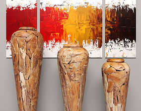 Collection of wooden vases 3D