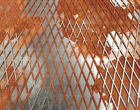 low-poly Weathered Lattice Plate 3D Model