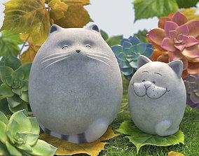 Fat cats 3D asset low-poly