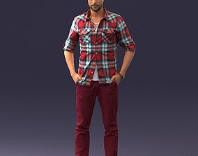 Man with beard and checked shirt 0342 3D Print