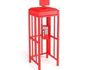 3D model Modern Metal Glass Phonebooth
