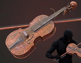 3D asset Old Violin