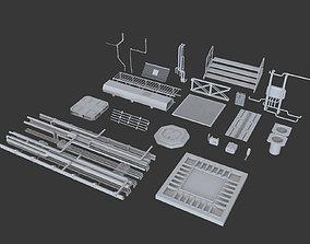 Kitbash Si-fi low poly 3D model