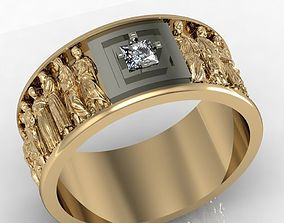 mens ring with antique statues 3D print model