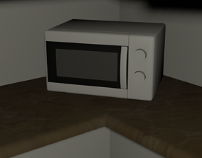 3D asset low-poly Microwave