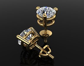 3 Prong Solitaire Earring Stud Basket 6mm 3D print model