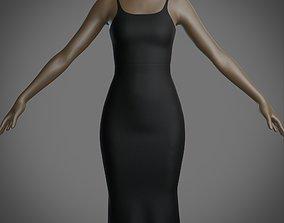 Female bodycon dress - sleeveless 3D asset
