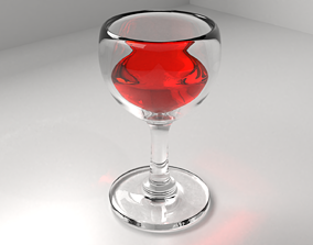 liquor Wine Glass with Liquid 3D model