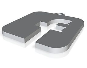 Facebook logo keychain 3D printable model