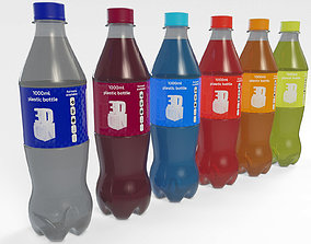 1000ml Plastic Drink Bottle 3D model with 5 flavoured