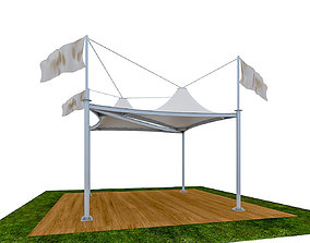 Tensile Membrane Tent Roof Shade exterior 3D game-ready