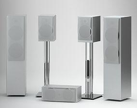 Silver Modern Speakers 3D