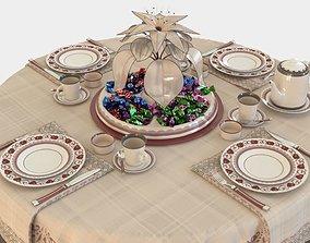 Tea table set 3D coffee