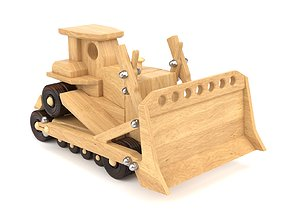 3D model Wooden toy bulldozer 08