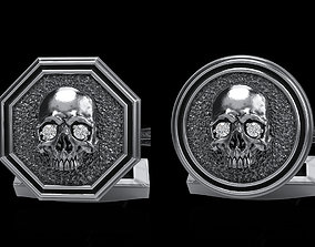 3D model skeleton skull cufflinks 2