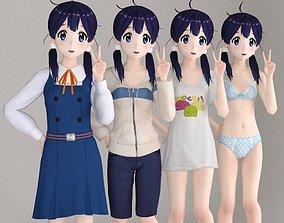 Tamako anime girl pose 01 3D model