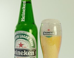 3D heineken beer bottle and glass of beer bootle