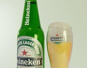 3D heineken beer bottle and glass of beer