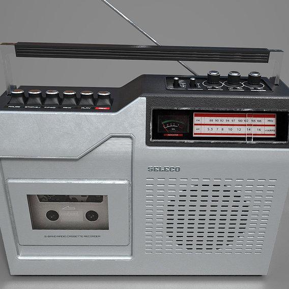 Radio cassette recorder - PBR game ready model