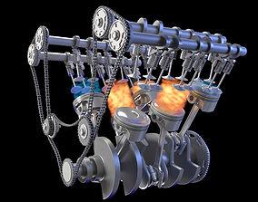 3D Internal V6 Engine Animation
