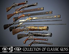 3D model Collection of classic guns 3