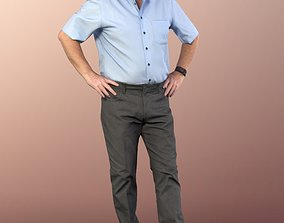 11327 Phil Old man standing hands on waist shirt 3D