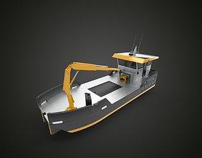 3D model crane work boat