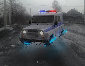 3D model Cyberpunk car Russian police UAZ