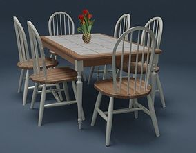 Country Style Timber Dining Set 3D