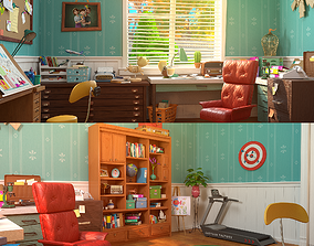 film 3D model Cartoon Study Room