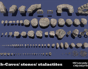 3D asset realtime Big mountain stones Pack