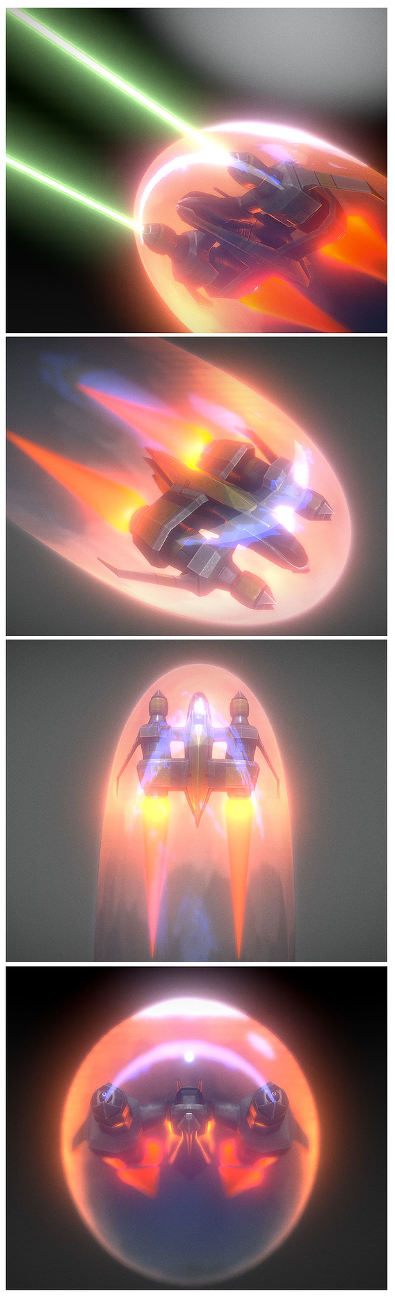 Low-Poly Star Fighter Spacecraft with Shield and Laser Animation