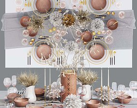 3D asset Table setting with dried flowers