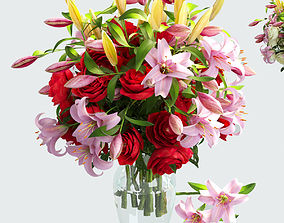 3D model Vase with rose and lily