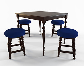 3D model bar table and chairs