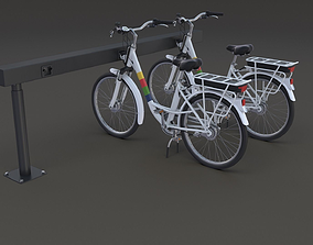 3D model Electric City Bicycle and Station
