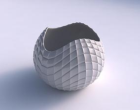 Bowl Spheric wavy with strange tiles 3D printable model