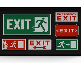 exit sign board 3D model PBR