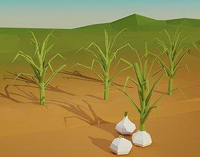 gardering 3D model realtime Low poly garlic