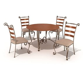 Restaurant Table And Chairs 2 3D model