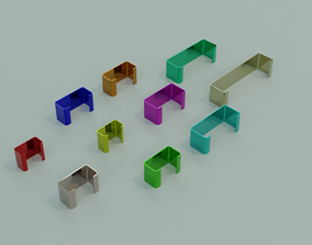 Low poly 10 standard C profiles with thickness 3D model 2